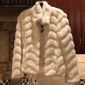 White House Black Market White Faux Mink Coat